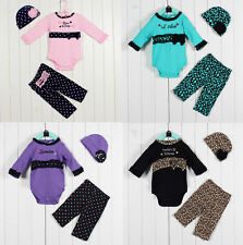 Newborn Photo Props Costume Kids Baby Girl Clothing Set Bodysuit+Hat+Pants Suit