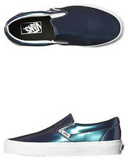 New Vans Women's Womens Classic Slip On Patent Leather Women's Shoes Blue