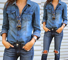 Blue Retro Fashion Women Casual Jean Denim Long Sleeve Shirt Tops Blouse Jacket