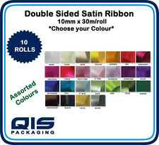 Satin Ribbon - Assorted Colours / Widths - 10mm and 25mm - 6x or 10x Rolls