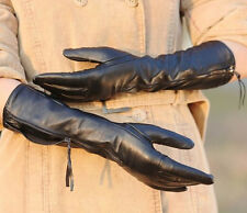 Womens Genuine Nappa Leather Elbow Long Lined Gloves with zipper On Sale #031