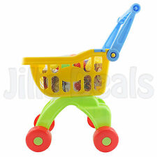 TROLLY PLAY SET SHOPPING WHEEL BASKET WITH PLASTIC FRUITS PRINTED GROCERY ITEMS