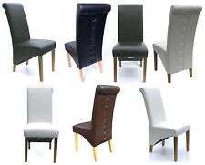 Quality Dining Chairs Faux Leather High Back Scroll Roll Top Oak Legs