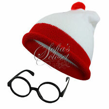 Wheres Wally Hat Glasses World Book Day Costume Waldo Stripe Adult Childrens