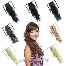 """Ribbon PonyTail 22"""" Curly Body Wavy Hair Extensions Clip In Hairpiece 7 Colors"""