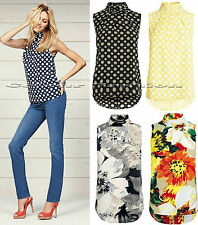 New Next size 6 - 22 Sleeveless High Neck Polka Dot Floral Spotted Top Blouse