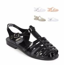 NEW WOMEN'S JELLY SLINGBACK SANDALS RETRO BUCKLE STRAPPY FLAT FASHION SHOES