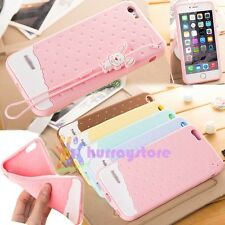 Cute Sweet Soft Skin Rabbit Rope Silicone GEL Rubber Case Back Cover For iPhone