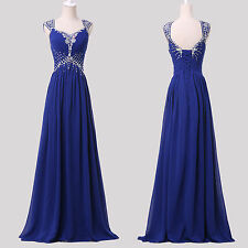 FREE SHIP BLUE Formal Prom Bridesmaid Party Gown Evening long Maxi Dress 6-20 UK