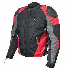 Xelement Mens Red Black Waterproof Armored Textile Sport Motorcycle Jacket