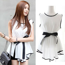Fashion Women Summer Casual Chiffon Tee Shirt Loose Blouse Tops Peplum Dress
