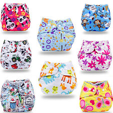 New Washable Reusable Baby Infant Printed Pocket Cloth Diaper Nappy Snap Inserts
