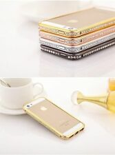 For iPhone 5 5S 4 4S Bumper Case Cover  Crystal Rhinestone Diamond Bling Metal