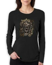 Steam Punk Skull Women Long Sleeve T-Shirt Mechanical Gothic Vintage Industrial