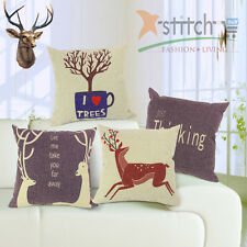 17.7'' Square Hipster Christmas Deer PrintCotton Linen Decorative Pillow Cover