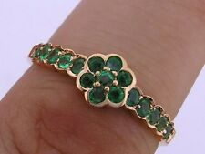 R138 - Genuine 9K Solid Yellow / Rose or White Gold Natural Emerald Daisy Ring