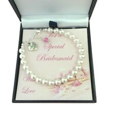 Thank you Gift for Flower Girl or Bridesmaid. Birthstone Bracelet with Pearls