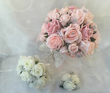 Wedding Flowers Ivory Rose Crystal Bouquet, Bride, Bridesmaid, Flower-Girl Wand*