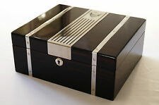 GERMANUS Cowling Humidor for ca. 50 Cigars with Digital Hygrometer + Humidifier