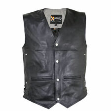 Xelement Mens King Biker Leather Motorcycle Vest (S-3XL)