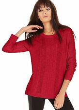 Kensie Women`s Red Long Sleeve Cable Knit Sheer Pullover Crewneck Sweater