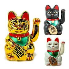 "XL BECKONING CAT 8"" Large Wealth Lucky Waving Kitty Maneki Neko Gold White Black"
