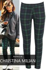 Womens Tartan Check Black Green Trousers with Pockets 8-10-12-14