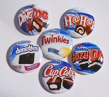 """Snack Cakes Flatback - Pin Back Buttons 1"""" for Bows Ect"""
