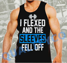 Men's I Flexed and the Sleeves Fell Off Funny Workout Gym Black Muscle Tank Top