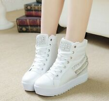 Womens Ladies White Canvas 7CM High Platform Sneakers Comfort Shoes Trainers