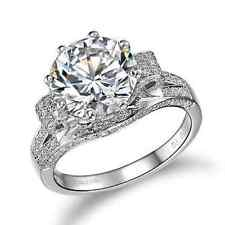 3 CT SONA Round Diamond Engagement Wedding Ring 925 Sterling White Gold Plated
