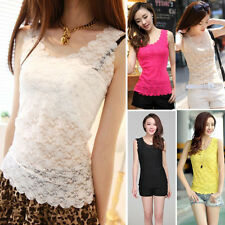 2015 NEW Women Girls Casual Loose Sleeveless Lace Vest Tank T Shirt Blouse Tops