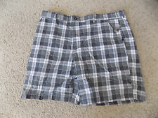 NEW MENS FADED GLORY GRAY PLAID  WALKING  FLAT FRONT SHORTS  SIZE 46