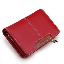 Women Medium Cowhide Wallet Zipper Leather Purse Coin Wallet Card Holder