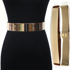 Women Fashion Mirror Metal Gold Plate Belt Elastic Stretch Metallic Obi Waist