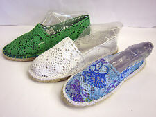 LADIES LACE EFFECT SUMMER ESPADRILLES SPOT ON F2186