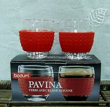 2 BODUM PAVINA espresso cups double wall thermo glass coffee cafe caffe