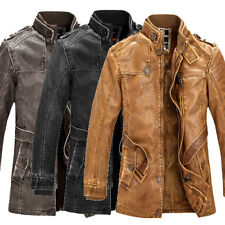 Thick Motorcycle Mens Cool Winter Trench Coat Outerwear Military Jacket Overcoat