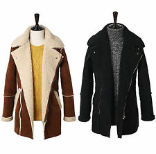 Mens Premium High Neck Suede Leather Coat Jacket Blazer Jumper D-001 - XS/S/M