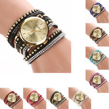 Bling Rhinestone Leather Strap Analog Girls Ladies Quartz Bracelet Wrist Watch