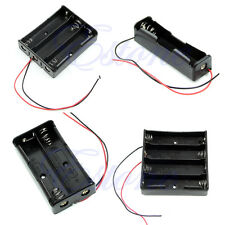 """1PC Plastic Holder Storage Box Black Case For 18650 Battery With 6"""" Wire Leads"""
