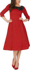 'Iris' Polka Dot Collared Vintage 1950's Rockabilly Swing Pin-Up Evening Dress