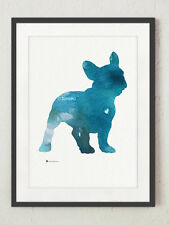 Blue french bulldog painting watercolor art print, best ideas for gift