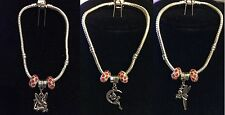 Silver Plated Bracelet with Tinkerbell Lying Down Moon Charm and Crystal Beads