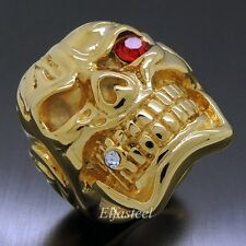 MENS Huge Heavy Gold Skull Red Eye Cigar CZ 316L Stainless Steel Biker Ring