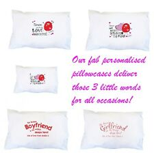 PERSONALISED White Cotton Pillowcase Birthday Message Gift Present For Her Him