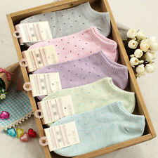 Women's Fresh Polka Dot Socks Candy Colors Cotton Ankle Socks Soft Seasons