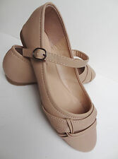 New Womens Nude Mary Jane Ballet Flat Casual Shoes Sizes 5-10 US