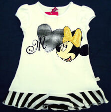 NEU! Disney Minnie Mouse Stretch T-Shirt Shirt Top Tunika Glitzer 98 104 116 128