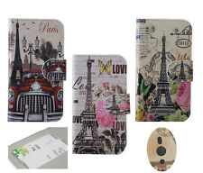 2Colors Car Eiffel Tower bufferly Flower PU leather cover case For Mobile Phones